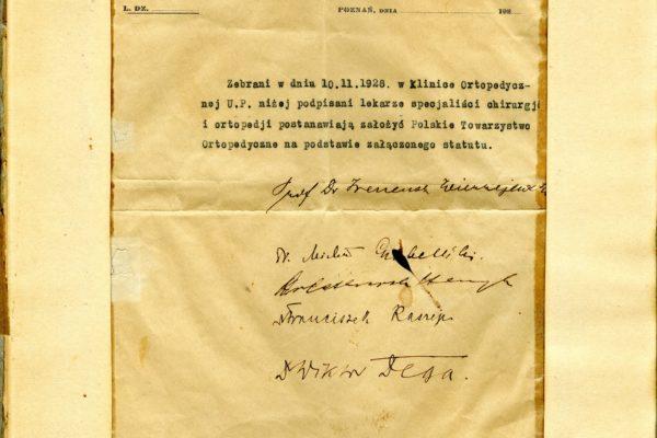 Akt Założycielski Polskiego Towarzystwa Ortopedycznego